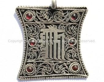 Tibetan Filigree Kalachakra Pendant with Garnet Inlays - WM636