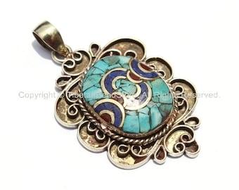 Ethnic Tibetan Pendant with Brass, Lapis, Turquoise & Coral Inlays - Filigree Pendant - Ethnic Nepal Tibetan Mosaic Inlay Jewelry - WM2405