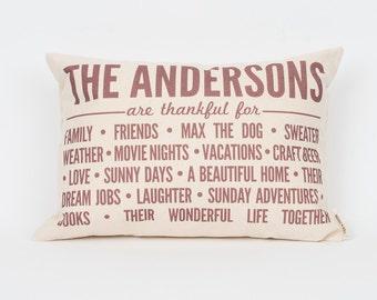 Custom Family Pillow, Gift for Mom, Gift for Grandma, Thanksgiving Decor, Printed Pillow, Family Love, Meaningful Decor, Mother's Day Gift