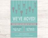 Fun Grey and Blue Housewarming Invitation with Hanging Keys
