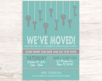 Fun Grey and Blue Housewarming Invitation with Hanging Keys