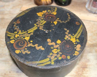 Cheese Pantry Box in Black Paint Decorated with Gold Green Brown Hand Painted Bentwood Shaker