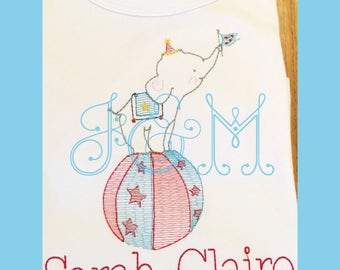 Baby Circus Elephant Sketch Embroidery Design