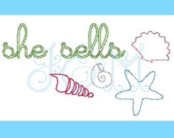 She Sells Seashells Vintage Stitch Embroidery Design