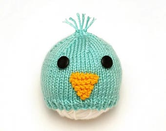 Baby Blue Bird Hat • Blue Bird Baby Hat • Blue Bird Newborn Hat • Baby Chick Hat • Easter Baby Hat • Spring Baby Hat • Baby Shower Gift