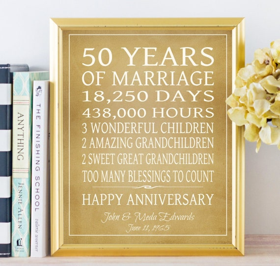 List Of 50th Wedding Anniversary Gifts : 50th Anniversary Gift, Grandparents Gift, 50 Year Anniversary ...