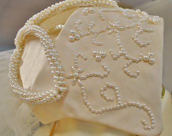 Vintage Ivory Faux Pearl Two Tier Tulle Bridal Veil
