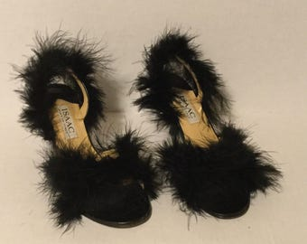 Refashioned Black Feathered Heels - size 6.5M