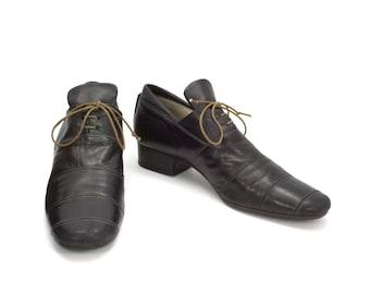 Fausto Santini Vintage 1990s Modern Architectual Lace Up Oxford Shoes Black Leather Avant Garde Pilgrim Design  Italy Size 8.5 US 39 EU