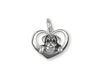 Pug Charm Jewelry Sterling Silver Handmade Dog Charm PG43-C