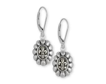 Fleur De Lis Earrings Jewelry Sterling Silver Handmade Flower Earrings FD5-LB