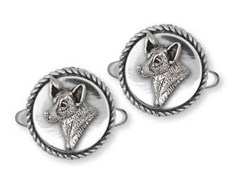 Australian Cattle Dog Cufflinks Jewelry Sterling Silver Handmade Dog Cufflinks ACD2-CL