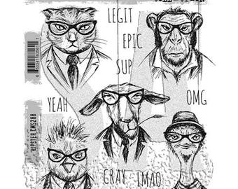 Tim Holtz HIPSTER Cat Chimp Goat Ostrich Red Rubber Cling Stamps STAMPERS ANONYMOUS CMS288 cc11