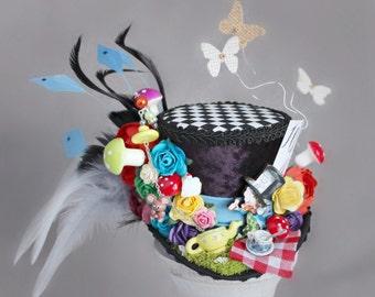 Mad Hatter Mini Top Hat, Mad Hatter Landscape Mini Hat, Alice in Wonderland Hat, Unbirthday Hat, Tea Party Hat, Mad Hatter, Red Mini Top Hat
