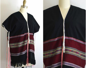 Woven Cotton Shirt with Tassels/  Embroidered Huipil/ Boho Mexican Style Tunic/ Womens Size Small Medium