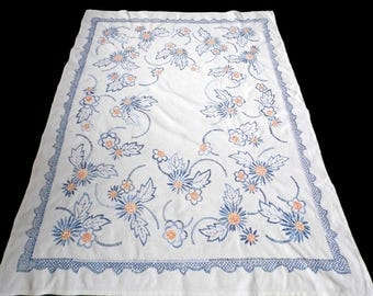 Big white linen tablecloth with blue floral hand embroidery embroidered table cloth with FLOWERS 40s