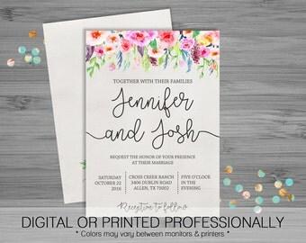 Floral Rustic Wedding  Invitation - Custom - Printable