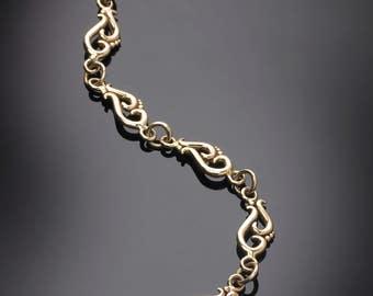 14Kt Yellow Gold Swirl Link Bracelet #BL25YG