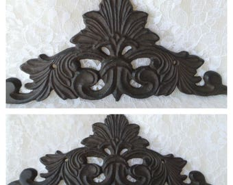 Cast Iron Wall Art, French Country, Picture Topper, Door Topper, Cast Iron Wall Decor, Iron Wall Scroll, Shabby Cottage Decor, Wall Art