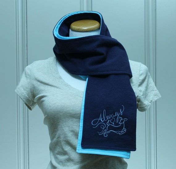 SALE Always Navy and Light Blue Flannel Scarf