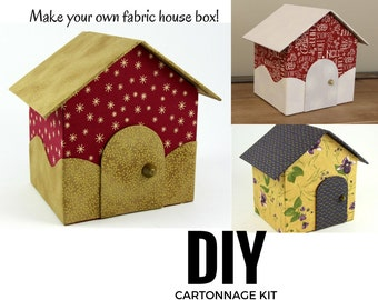 Fabric covered box DIY kit, fabric box kit, cartonnage kit, fabric house box kit (DIY kit 151)