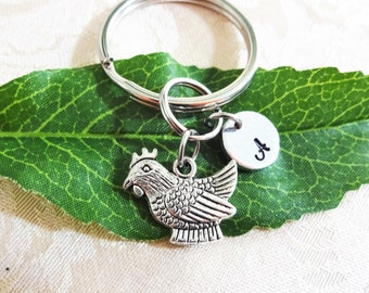 "CHICKEN KEYCHAIN with initial charm - Read ""item details"" & see all photos - one flat rate shipping in my shop :)"