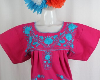 Medium- Frida Style Mexican Hand Embroidered Peasant Blouse 100% Cotton/Manta -Pink- Puebla-BOHO-Hippie-Summer