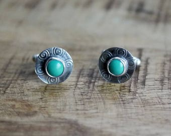 Turquoise Cuff links, Silver Cuff links,  Mens Cuff links, Wedding Gift, Groom Gift, Turquoise Cufflinks, Silver Cufflinks, Mens Jewelry