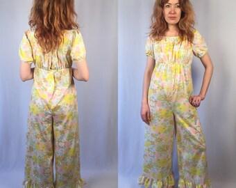 Vintage 1970's floral jumpsuit