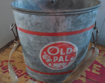 Vintage Old Pal Bait Minnow Bucket...Flyfishing Strap Galvanized Can...Tackle...Beach Lake Cottage Decor