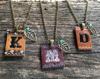 Custom leather Initial necklace | tooled leather | One of a kind gift | monogram | gift for her | Love Squared Designs