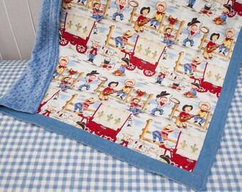 Cowboy Western Soft Blue Denim Jeans Baby Boy Blanket