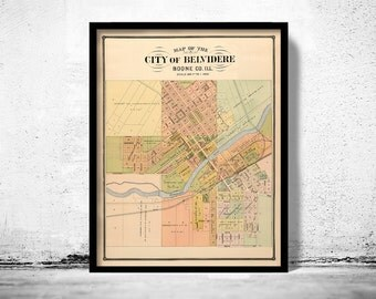 Old map of Belvidere Illinois 1886