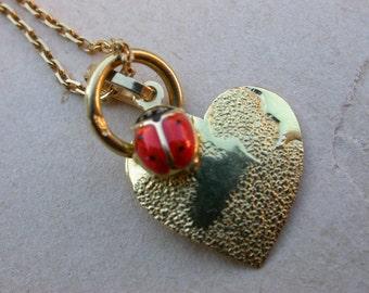 French 19th vintage 18k solid gold necklace heart pendant ladybug enamel 18k gold pendant
