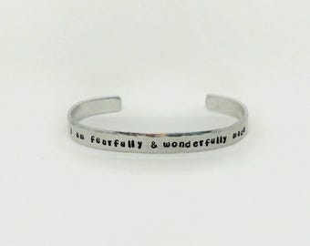 I Am Fearfully & Wonderfully Made, Cuff Bracelet, Affirmation, Daily Mantra, Adjustable Cuff bracelet