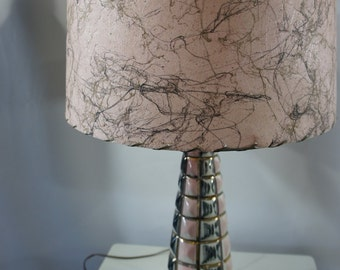 Mid Century C. Miller Pink Black & Gold Ceramic table Lamp W/ 2 tier Fiberglass shade beautiful works Bobbe Products