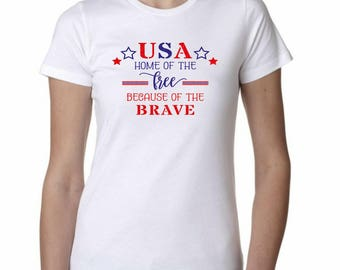 4th of July t-shirt , July 4th t-shirt, Women's Tshirt, White, 4th of July shirt
