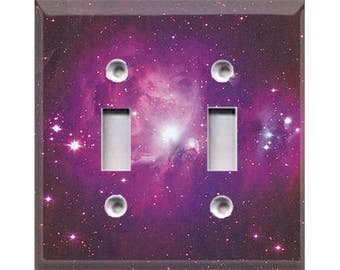 Cosmic Shine - Purple Double Light Switch Cover