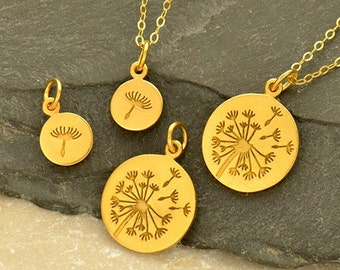 Gold Charms - Dandelion Set with 24K Gold Plate.