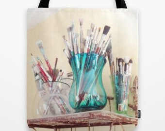 Artist Tote Bag, Artist Tote, Painters Tote, Art Bag, Paintbrush Tote, Art Lovers, Artist Gift, Painters Gift, Artists Tote bag, Creative
