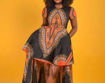 Black Dashiki High -Low Dress