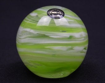 Phoenician yellow & white streaky glass paperweight