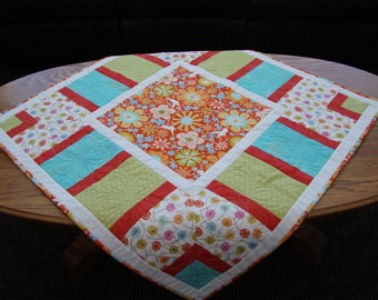 Quilted Table Topper, Spring Table Topper, Hand Made, Kitchen Decor, Dining Room Decor, Table Toppers