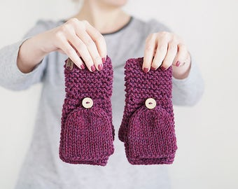 Thick Wool Gloves In Purple, Crochet Convertible Mittens for Women, Winter Accessories