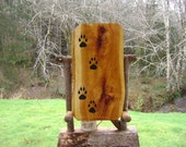 Pet memorial paw print sign, handmade on rustic live-edge Western Red Cedar wood with paw print silhouettes & an all-weather urethane finish