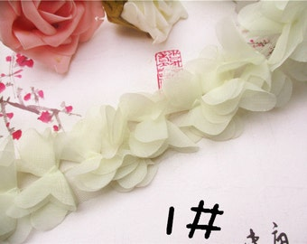 Chiffon Leaves Lace Trim 3D Light Green Lace 2.55 Inches Wide 1 Yard Wedding Costume Supplies