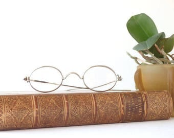 Antique Eyeglasses Oval Lenses Scroll Bridge Spectacles Magnified Glasses 1800's Eyewear Accessories Reenactment