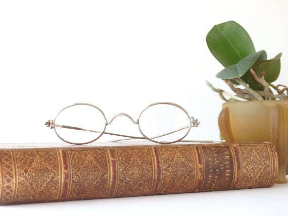 Antique Eyeglasses Oval Lenses Scroll Bridge Spectacles Magnified Glasses 1800's Eyewear Accessories Reenactment Round Eyeglasses