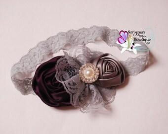 Eggplant Purple Gray Satin Rose Flower Pearl Rhinestone Lace Headband, Flower Girl, Couture Headband, Vintage, Baby Girl Woman - SB-022NP