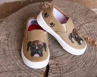 Hand PAINTED PUPPY SHOES, Boxer Shoes, Custom dog shoes, Baby, Toddler, and Children Sizes